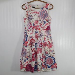 Talbots Ivory Pink and Blue Floral Dress